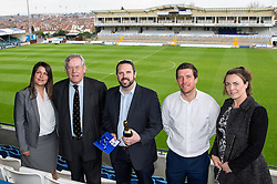 Bristol Rovers Manager Darrell Clarke and Chairman Steve Hamer with the winner of the fourth prize at the Sponsors Draw - Mandatory by-line: Robbie Stephenson/JMP - 15/04/2016 - FOOTBALL - The Memorial Ground - Bristol, England -  v  - Bristol Rovers Sponsor Draw