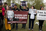 Protesters calling to free Julian Assange outside Parliament on 24th April 2019 in London, England, United Kingdom. The Wikileaks founder Julian Assange was arrested and is currently serving a prison sentence after he was found guilty of breaching the Bail Act and on 1 May 2019 was sentenced to 50 weeks in prison in the United Kingdom.