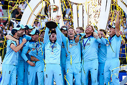 Eoin Morgan of England lifts the ICC Cricket World Cup Trophy as England are crowned Champions for 2019 - Mandatory by-line: Robbie Stephenson/JMP - 14/07/2019 - CRICKET - Lords - London, England - England v New Zealand - ICC Cricket World Cup 2019 - Final