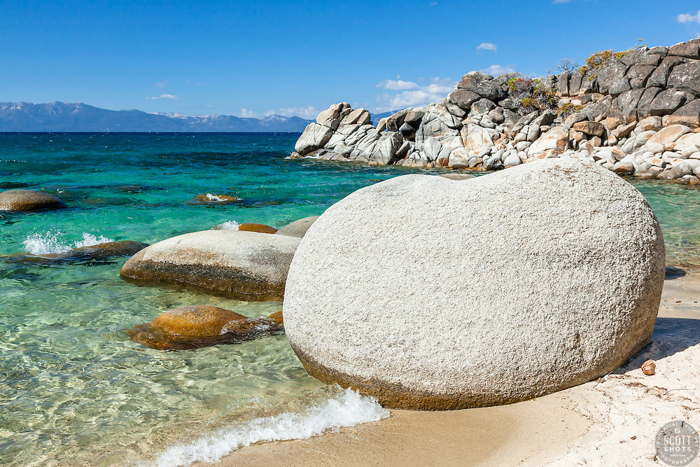 """""""Boulders at Secret Cove 4"""" - These boulders shoreline were photographed at Secret Cove on the East Shore of Lake Tahoe."""