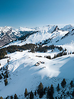 Aerial View of Trees and Mountains in Stoos, Swiss Ski Resort in Schwyz, Switzerland