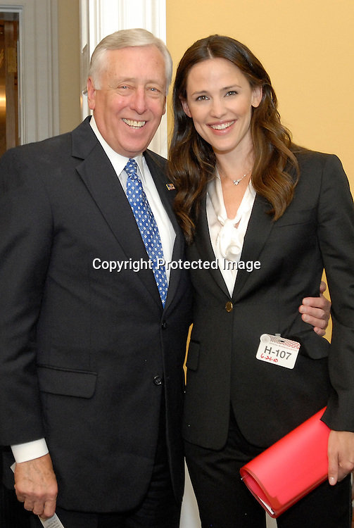 """Actress Jennifer Garner poses with Representative Steny H. Hoyer (D - MD) before a meeting on Capitol HIll on June 24, 2010 in Washington DC. Garner was up on the hill to lobby for """"Save the Children,"""" foundation. Photo by Kris Connor/Save the Children"""