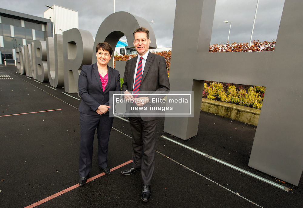 Pictured: Ruth Davidson and shadow finance secretary Murdo Fraser <br /> <br /> Scottish Conservatives leader Ruth Davidson and shadow finance secretary Murdo Fraser headed to Edinburgh Airport to meet Ahmet Serhat Sari, Turkish Airlines General manager for Scotland, 4 years after the airline opened up the route from the capital to Ankera. Ms Davison was keen to discuss the expansion of the Scottish economy.<br /> <br /> Ger Harley   EEm 9 December 2016