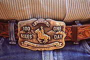 A belt buckle of one of the riders in a past annual Tevis Cup 100-mile endurance horse race from Squaw Valley to Auburn, California.
