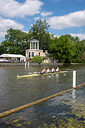 Henley on Thames, England, United Kingdom, 3rd July 2019, Henley Royal Regatta, Henley Reach, Crews Training by, Temple Island, during the Luncheon Interval,  [© Peter SPURRIER/Intersport Image]<br /><br />13:28:12 1919 - 2019, Royal Henley Peace Regatta Centenary,