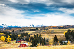 Kananiski Country Ranch on the edge of the Canada's Alberta prairie. Autumn is a beautiful time on the edge of the Canadian Rockies