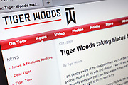 Computer screen showing the website for golfer Tiger Woods.