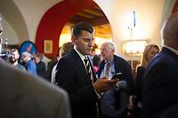 DEU, Deutschland, Germany, Berlin, 18.09.2016: AfD-Pressesprecher Christian Lüth bei der Wahlparty der Partei Alternative für Deutschland (AfD) im Ratskeller Charlottenburg. Mit einem Wahlergebnis von 14 Prozent wird die AfD erstmals in das Berliner Abgeordnetenhaus einziehen.