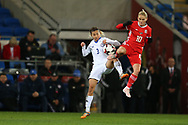 Jessica Fishlock of Wales (10) challenges Aida Gaistenova of Kazakhstan . Wales Women v Kazakhstan Women, 2019 World Cup qualifier match at the Cardiff City Stadium in Cardiff , South Wales on Friday 24th November 2017.    pic by Andrew Orchard