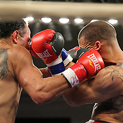 """Juan Castillo (right) fights against Luis Rodriguez during a """"Boxeo Telemundo"""" boxing match at the Kissimmee Civic Center on Friday, July 18, 2014 in Kissimmee, Florida. Castillo won the bout.  (AP Photo/Alex Menendez)"""