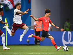 June 23, 2018 - Rostov-on-Don, Russia - Lee Jaesung (R) of South Korea competes during the 2018 FIFA World Cup Group F match between South Korea and Mexico in Rostov-on-Don, Russia, June 23, 2018. (Credit Image: © Li Ga/Xinhua via ZUMA Wire)