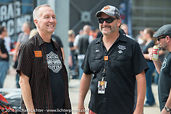Harley-Davidson Museum director Jim Fricke with the museum's motorcycle restorer Bill Rodencal at the musuem, one of the official venues for the Milwaukee Rally. Milwaukee, WI, USA. Sunday, September 4, 2016. Photography ©2016 Michael Lichter.