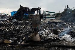 October 26, 2016 - Calais, France - A Ruin of a hut which was burned the night before is standing in the Calais Jungle. Huge fires destroyed a mayor part of the refugee camp today. (Credit Image: © Markus Heine/NurPhoto via ZUMA Press)