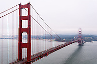 United States, California, San Francisco. Golden Gate Bridge from Marin County side.