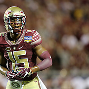Florida State Seminoles wide receiver Travis Rudolph (15) looks down the line during an NCAA football game between the Ole Miss Rebels and the Florida State Seminoles at Camping World Stadium on September 5, 2016 in Orlando, Florida. (Alex Menendez via AP)
