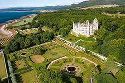 Aerial view form drone of Dunrobin Castle in Sutherland, Scotland, UK
