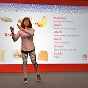 Speaker Sport nutritionist and author Anita Bean at London Marathon Exhibition 2019 - ExCeL London on 26 April 2019, London, UK.