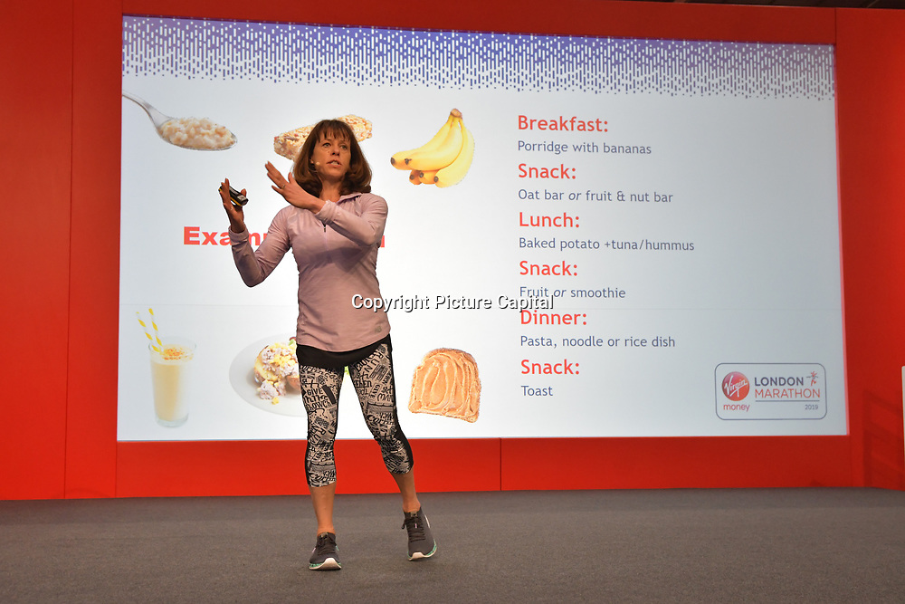 Speaker Sport nutritionist and author Anita Bean at London Marathon Exhibition 2019 - ExCeL London on 26 April 2019, London, UK.