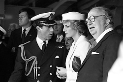 The Prince and Princess of Wales aboard the frigate Grecale, during their visit to the military port of La Spezia, Italy. With them is Italian Defence Minister, Giovanni Spadolini.