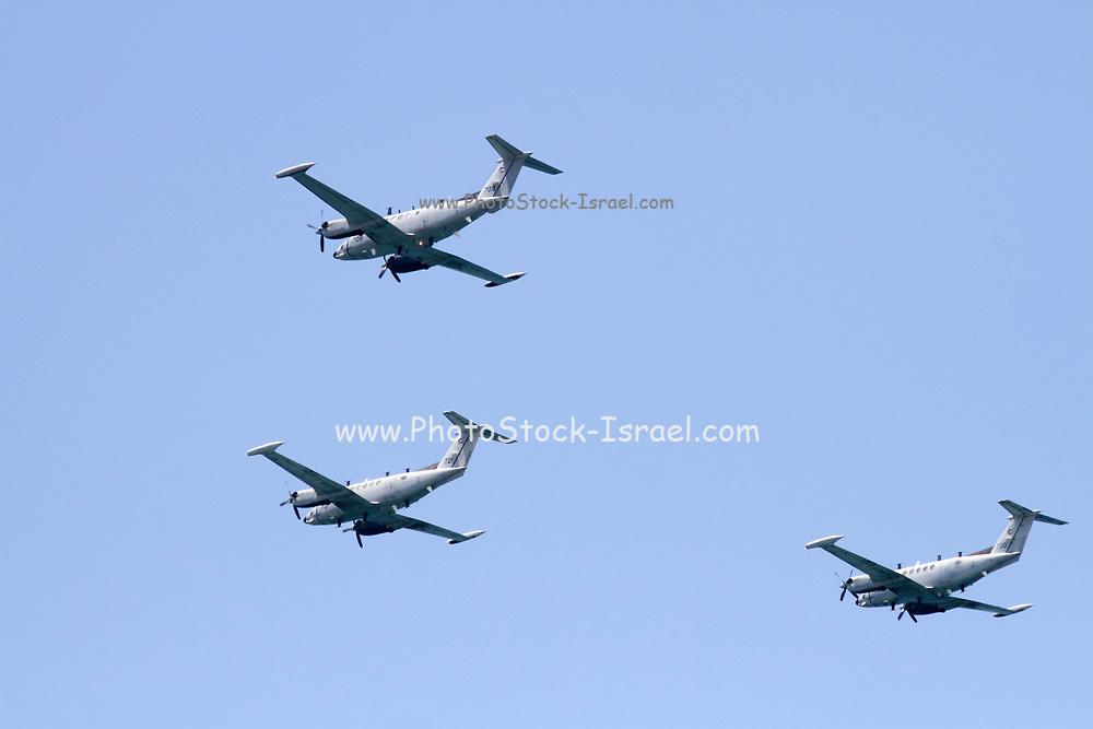 Israeli Air force Beechcraft Super King Air (C-12 Huron) transport plane in flight