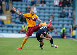 Motherwell's Richard Tait and Dundee's Calvin Miller. Dundee 1 v 3 Motherwell, SPFL Ladbrokes Premiership game played 1/9/2018 at Dundee's Kilmac stadium Dens Park