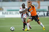 FOOTBALL - FRENCH CHAMPIONSHIP 2010/2011 - L1 - FC LORIENT v OGC NICE - 14/08/2010 - PHOTO PASCAL ALLEE / DPPI - ALAIN CANTAREIL (OGN) / JEREMY MOREL (FCL)