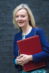 Downing Street, London, September 15th 2015.  Secretary of State for Environment, Food and Rural Affairs, Elizabeth Truss arrives at 10 Downing Street to attend the weekly cabinet meeting
