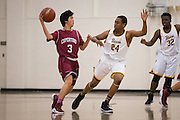 Mission Bears forward Robert Lee (24) defends a pass during the Fukushima Invitational at Independence High School in San Jose, Calif., on December 7, 2016. (Stan Olszewski/Special to S.F. Examiner)