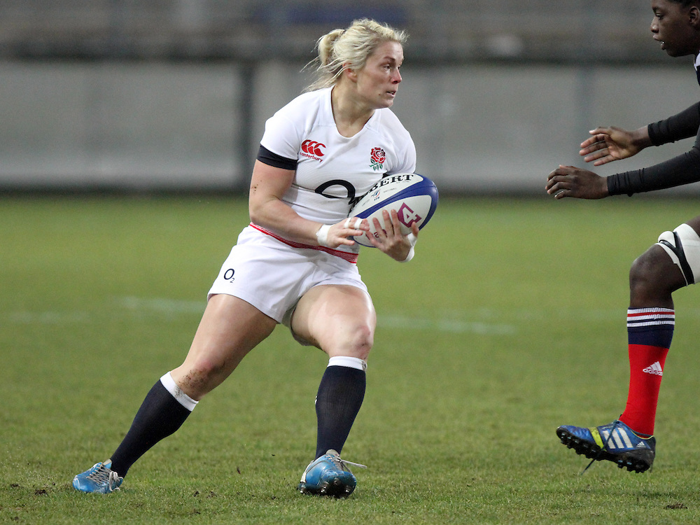 Rachael Burford in action. France Women v England Women in the Six Nations 2014 at Stade des Alpes, Grenoble, France on Saturday 1st February 2014, kick off 2055