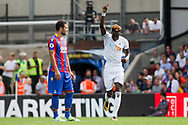 Tammy Abraham of Swansea City celebrates after he scores his his teams 1st goal. Premier League match, Crystal Palace v Swansea city at Selhurst Park in London on Saturday 26th August 2017.<br /> pic by Kieran Clarke, Andrew Orchard sports photography.