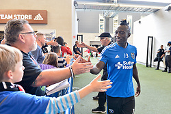 August 29, 2018 - San Jose, California, United States - San Jose, CA - Wednesday August 29, 2018: Dominic Oduro, fans prior to a Major League Soccer (MLS) match between the San Jose Earthquakes and FC Dallas at Avaya Stadium. (Credit Image: © John Todd/ISIPhotos via ZUMA Wire)