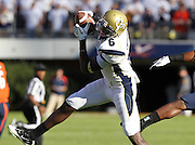 Oct. 15, 2011-Charlottesville, VA.-USA- Georgia Tech cornerback Rod Sweeting (6) intercepts the ball in front of Virginia Cavaliers running back Clifton Richardson (10) during an ACC football game at Scott Stadium. Virginia won 24-21. (Credit Image: © Andrew Shurtleff/