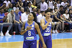 November 27, 2017 - Quezon City, NCR, Philippines - Calvin Abueva (8) and Matthew Wright (35) of the Philippines celebrate after Abueva forced a Chinese Taipei player into a foul while attempting a 3-point shot..Gilas Pilipinas defeated the visiting Chinese Taipei team 90-83 to complete a sweep of their first two assignments in the FIBA 2019 World Cup qualifiers. (Credit Image: © Dennis Jerome S. Acosta/Pacific Press via ZUMA Wire)