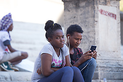 August 7, 2017 - Roma, RM, Italy - Demonstration at Piazza del Campidoglio in Rome organized by the volunteers and migrants of the Baobab Experience association. (Credit Image: © Matteo Nardone/Pacific Press via ZUMA Wire)