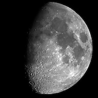 """Waxing Gibbous Moon (69%). Autumn Night in New Jersey. Image taken with a Nikon D3x and Questar 7"""" telescope  (ISO 400, ~2500 mm, f/16, 1/200 sec)."""
