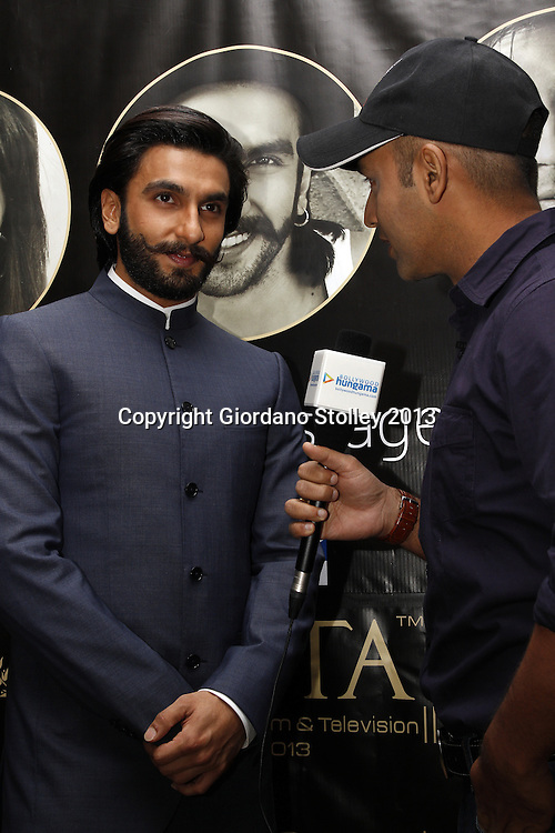 DURBAN - 5 September 2013 - Bollywood star Ranveer Singh is interviewed by Faridoon Shahrya of Bollywood Hungama in Durban, South Africa, where Singh is attending the South Africa India Film and Television Awards. Picture: Giordano Stolley