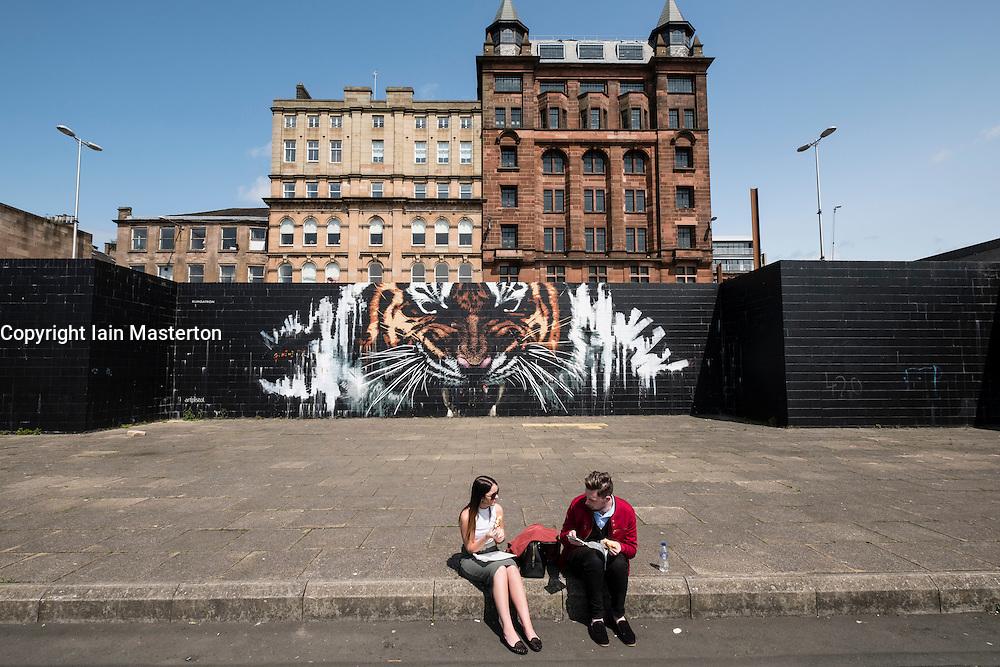 Tiger street art Mural on wall in central Glasgow, Scotland , United Kingdom