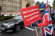 Anti Brexit pro European Union protester Steve Bray demonstrating in Westminster on 21st October 2019 in London, England, United Kingdom. Brexit is the scheduled withdrawal of the United Kingdom from the European Union. Following a June 2016 referendum, in which 51.9% of participating voters voted to leave.