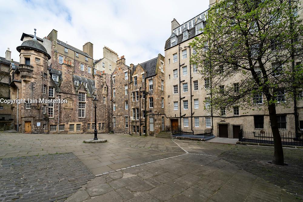 Makars Court off the Royal Mile in Edinburgh Old Town. Writers Museum on left, Edinburgh, Scotland, UK