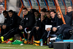 the bench of PSV with (2R) coach Phillip Cocu of PSV during the Second Round Dutch Cup match between FC Volendam and PSV Eindhoven at Kras stadium on October 26, 2017 in Volendam, The Netherlands