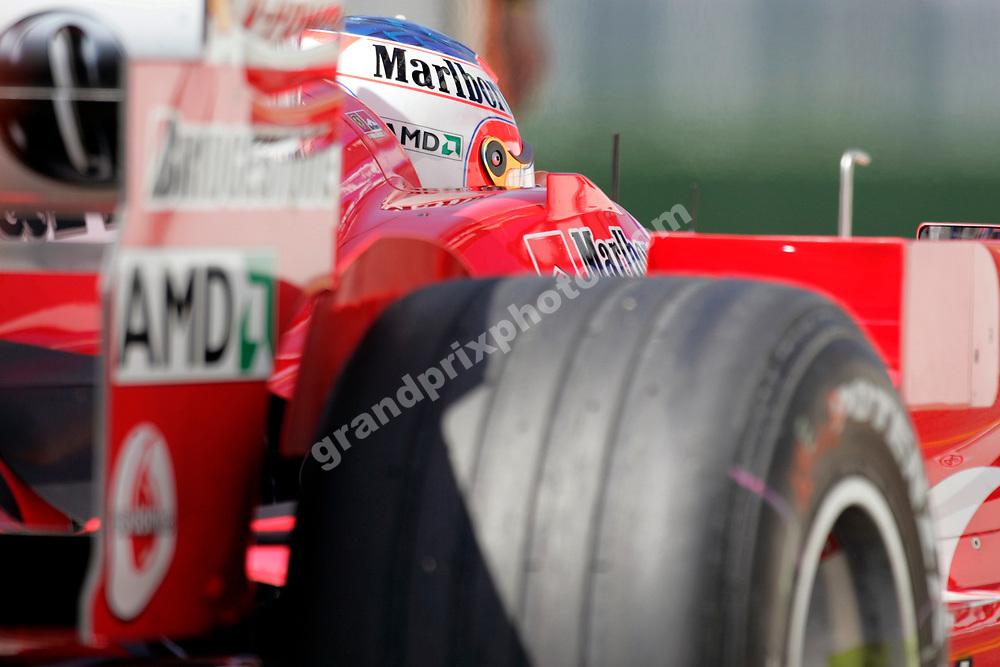 Rubens Barrichello in his Ferrari in a close-up shot from practice for the 2005 San Marino Grand Prix at Imola. Photo: Grand Prix Photo
