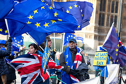 © Licensed to London News Pictures. 16/01/2018. London, UK. Anti-Brexit demonstrators wave EU and Union Jack flags outside the Houses of Parliament today. Tomorrow MPs will vote on the EU Withdrawal Bill. Photo credit : Tom Nicholson/LNP