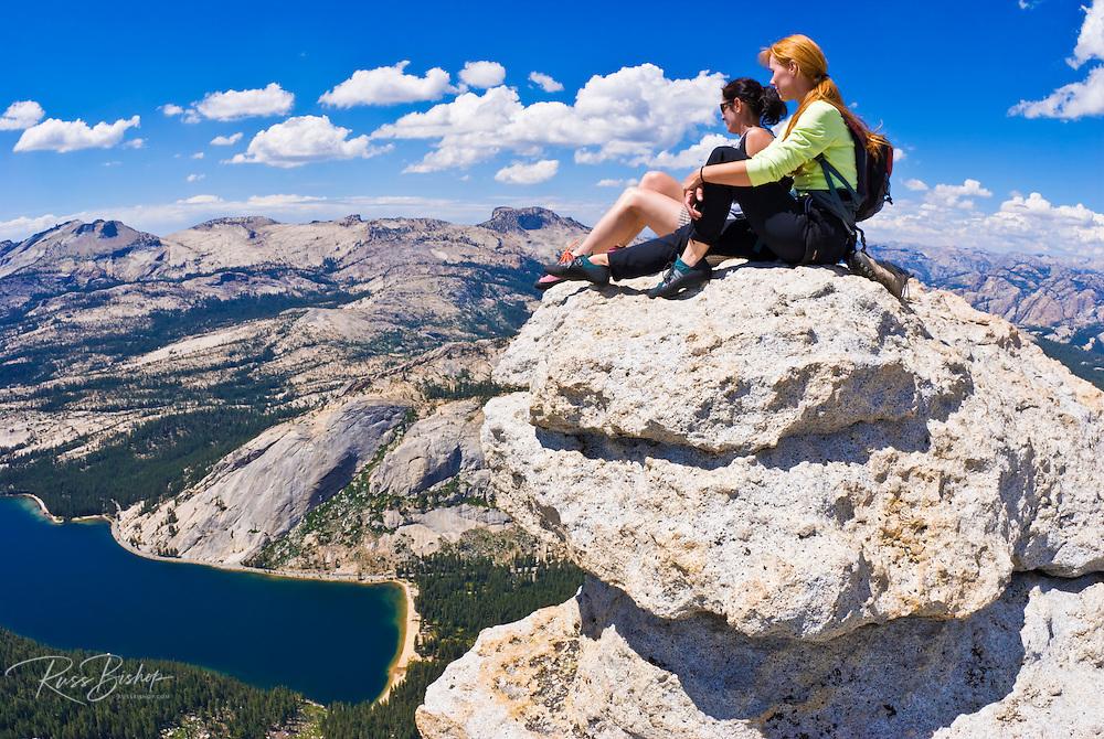 Climbers on the summit of Tenaya Peak, Tuolumne Meadows, Yosemite National Park, California