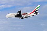 A6-EET Emirates Airways Airbus A380 at Milan, Malpensa