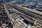 Nederland, Limburg,Venlo, 07-03-2010; Station Venlo met Emplacement Venlo, logistiek knooppunt. Het spoorwegemplacement wordt intensief gebruikt in verband met de nabijgelegen grensovergang met Duitsland. Het goederenemplacement is een van de drukste en gevaarlijkste van Nederland, onder andere door het vervoer van LPG, chloor en nafta in tankwagens..Station Venlo, logistical hub. The rail yard is extensively because uase of the nearby border with Germany. The freight yard is one of the busiest and most dangerous of the Netherlands, this is caused by the transportation of LPG, naphtha and chlorine in tankers..luchtfoto (toeslag), aerial photo (additional fee required).foto/photo Siebe Swart