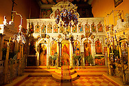 Interior of the Theotokos, Monastery, Paleokastitsa, 18th century Greek Orthodox. Corfu Ionian Island, Greece .<br /> <br /> If you prefer to buy from our ALAMY PHOTO LIBRARY  Collection visit : https://www.alamy.com/portfolio/paul-williams-funkystock/corfugreece.html <br /> <br /> Visit our GREECE PHOTO COLLECTIONS for more photos to download or buy as wall art prints https://funkystock.photoshelter.com/gallery-collection/Pictures-Images-of-Greece-Photos-of-Greek-Historic-Landmark-Sites/C0000w6e8OkknEb8