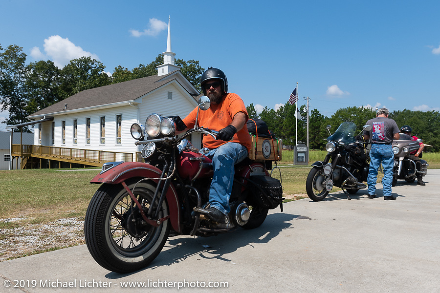 Richard Kaylor riding his 1948 Harley-Davidson Panhead in the Cross Country Chase motorcycle endurance run from Sault Sainte Marie, MI to Key West, FL. (for vintage bikes from 1930-1948). Stage-6 from Chattanooga, TN to Macon, GA USA covered 258 miles. Wednesday, September 11, 2019. Photography ©2019 Michael Lichter.