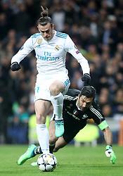 Real Madrid's Gareth Bale (l) and Juventus Football Club's Gianluigi Buffon during the UEFA Champions League quarter final second leg match Real Madrid v Juventus at the Santiago Bernabeu stadium in Madrid, Spain, April 11, 2018. Photo by Acero/AlterPhotos/ABACAPRESS.COM