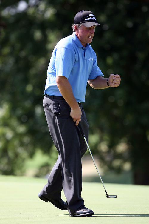 09 August 2007: Phil Mickelson pumps his fist after sinking a birdie on the 9th hole during the first round of the 89th PGA Championship at Southern Hills Country Club in Tulsa, OK.