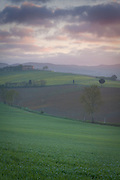 Landscape of the Chianti wine region with a hilltop villa, north of Siena, at dawn, Tuscany, Italy.